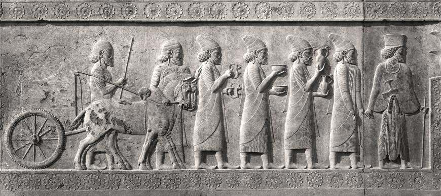 The Syrian delegation bringing tribute. Relief from the eastern staircase of the Apadana (audience hall), Persepolis, Iran (P. 29002).