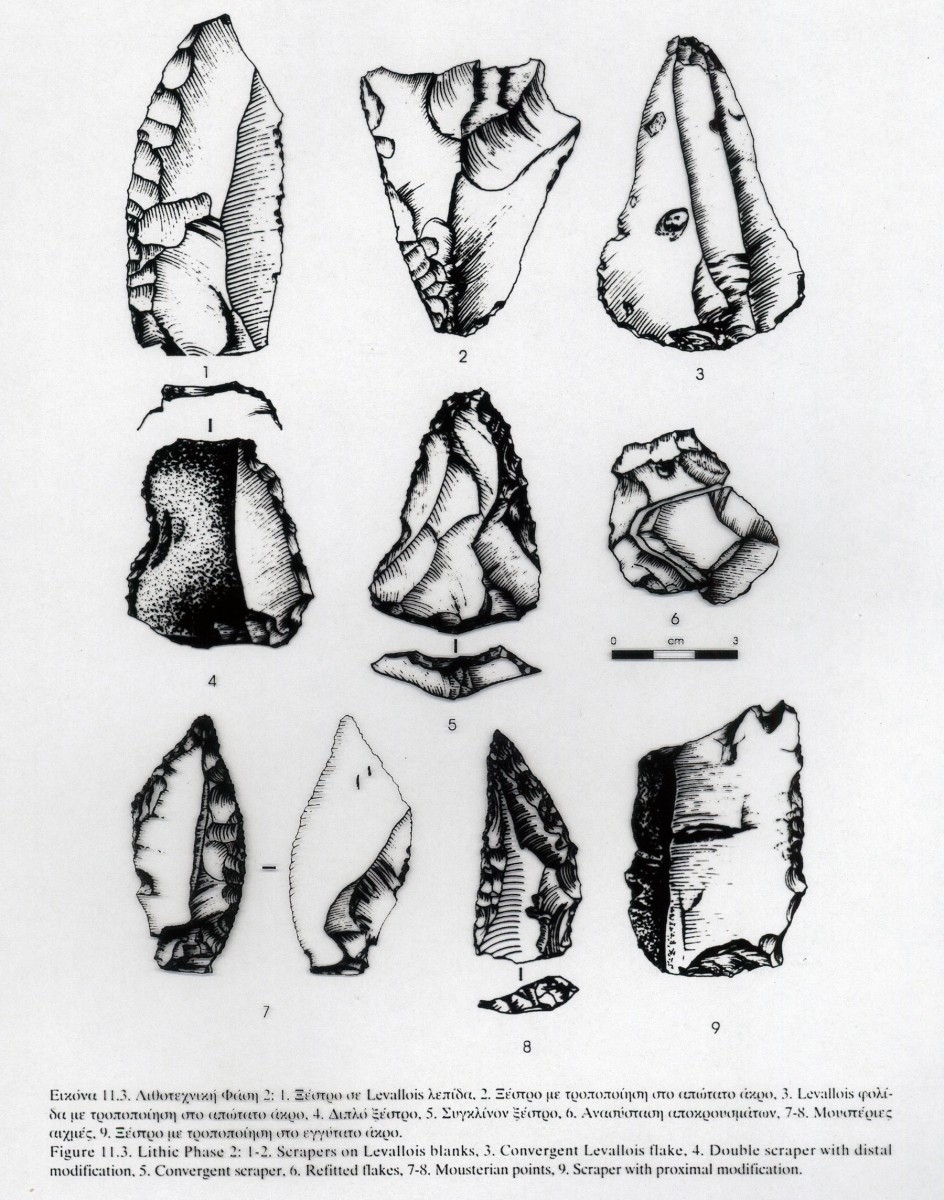 Fig. 10. Drawings of stone tools from the Middle Palaeolithic (Panagopoulou 2000, fig. 11,3, drawing by D. Bakoyiannakis).
