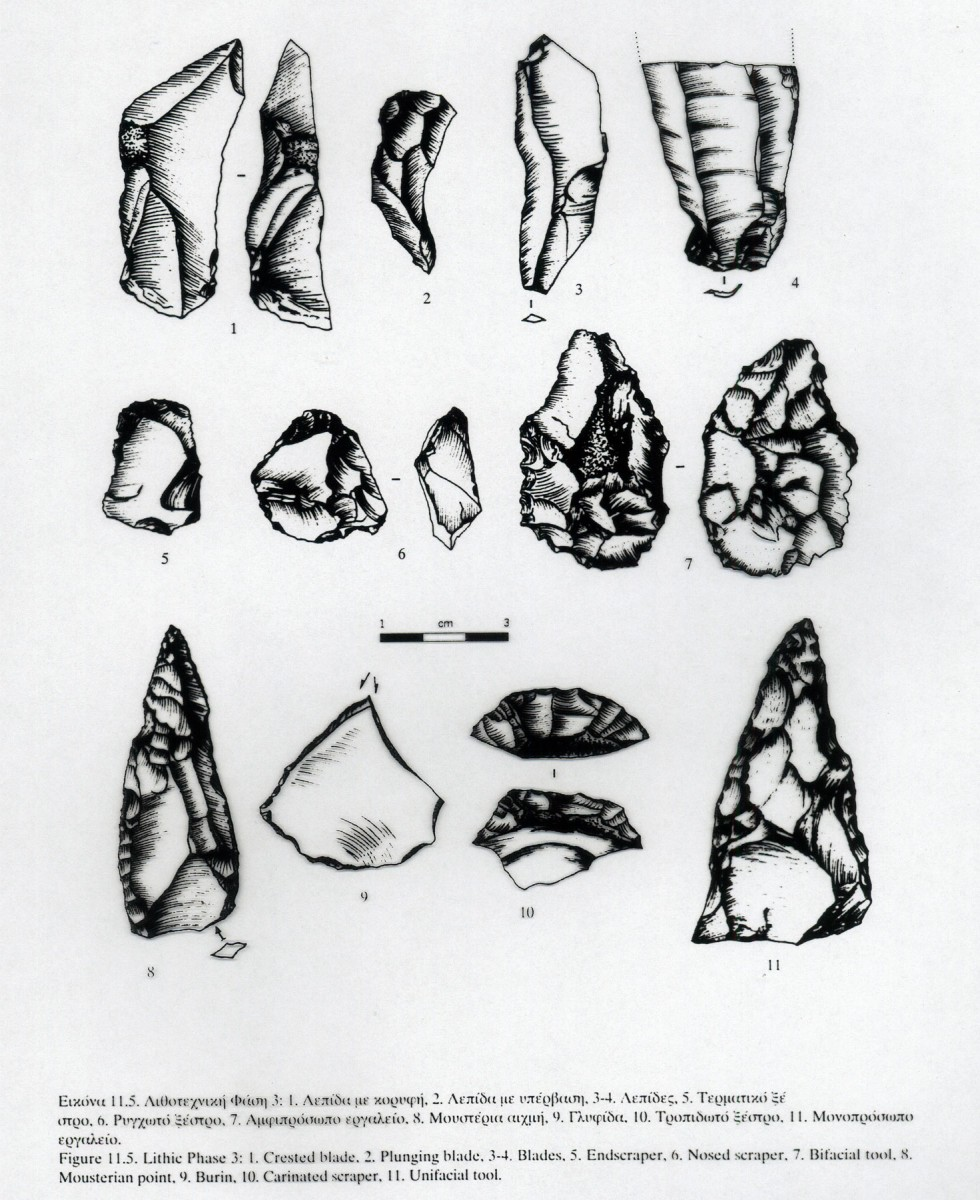 Fig. 11. Drawings of stone tools from the Middle Palaeolithic (Panagopoulou 2000, fig. 11,3, drawing by D. Bakoyiannakis).