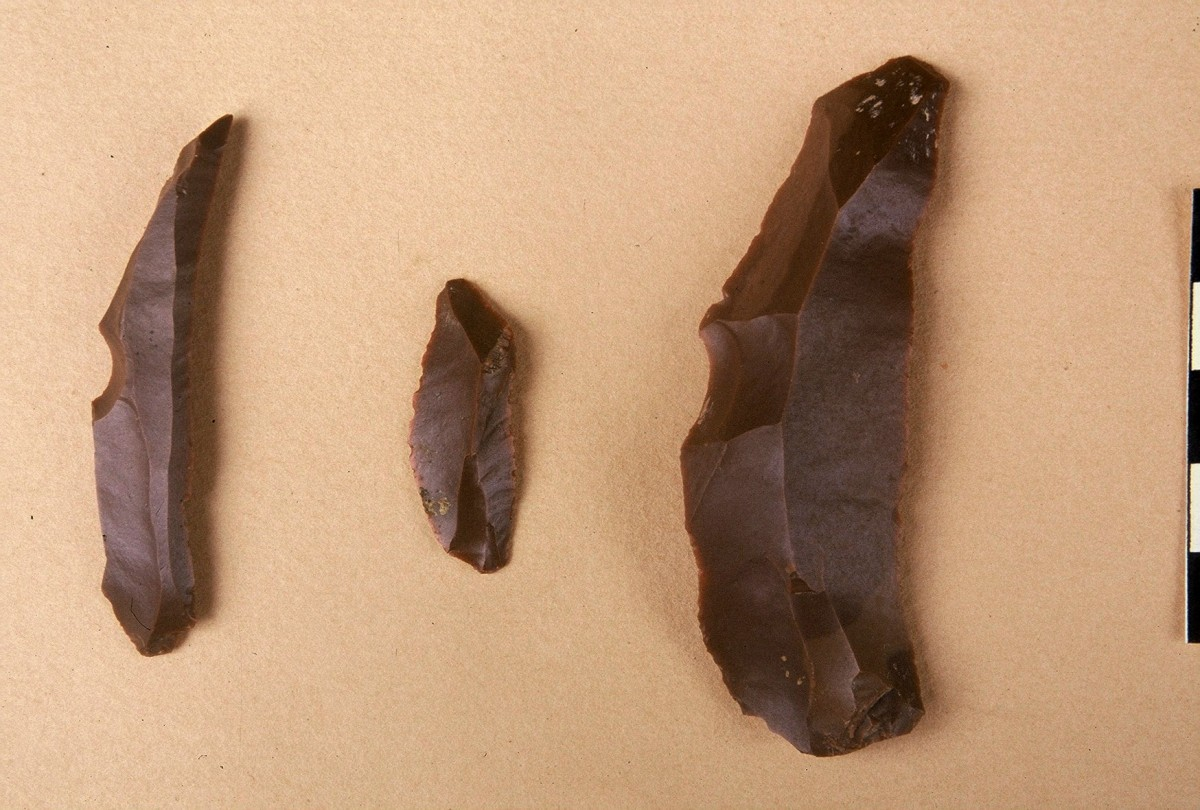 Fig. 13. Blade shaped tools of flint from the Upper Palaeolithic.