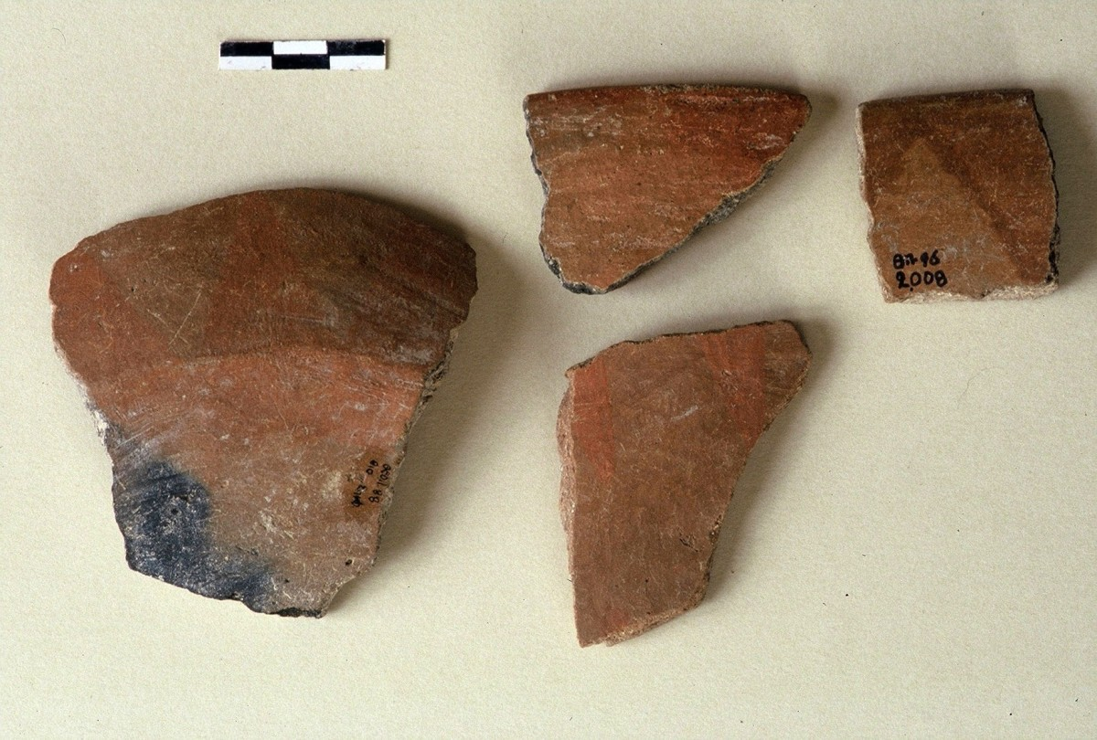 Fig. 16. Early painted pottery fragments from the Upper Palaeolithic.