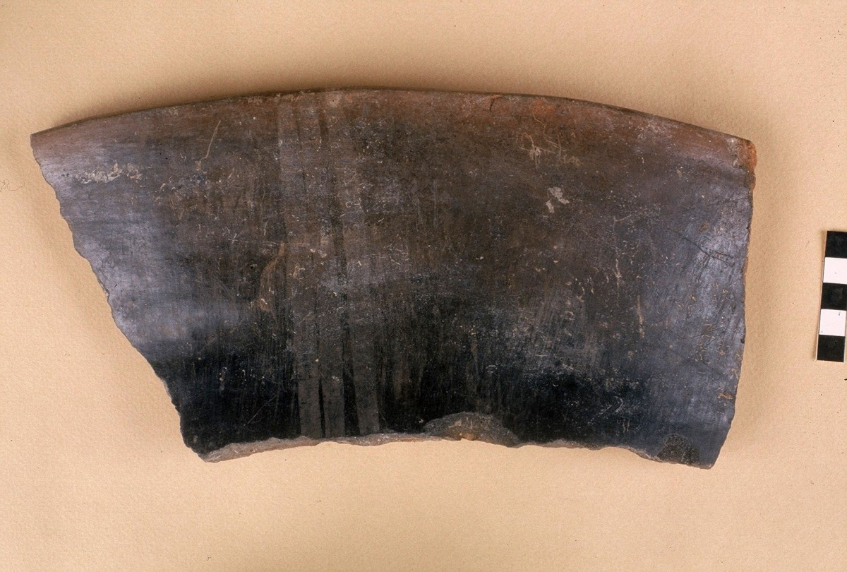 Fig. 22. Pithos sherd of the black polished Larissa type with additional painted decoration, Late Neolithic.