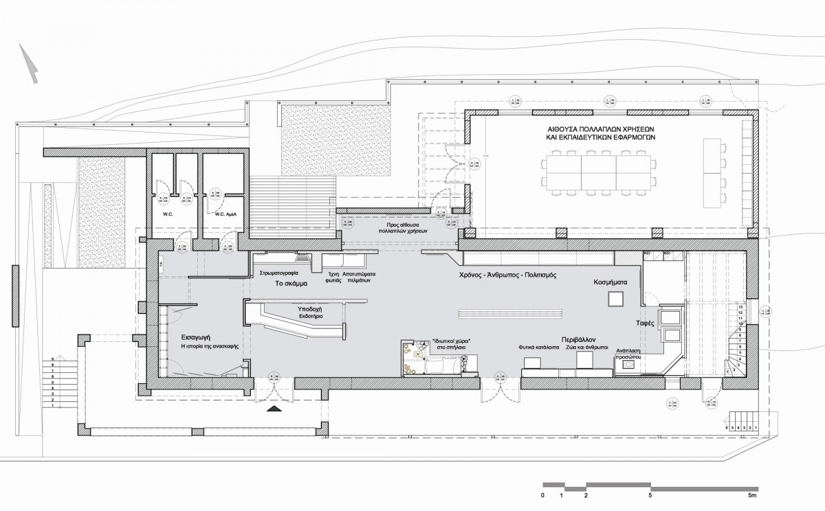 Fig. 7. Plan of the museum building with the extension for educational programmes and other uses. The positions for the various showcases and the uses of the space can be distinguished.