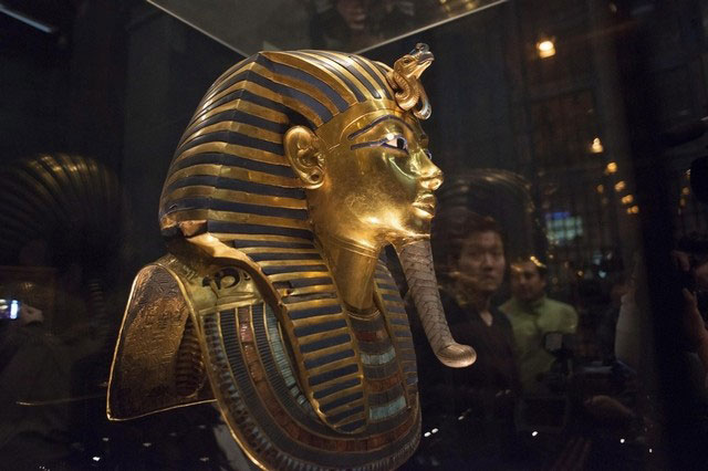 The mask of King Tutankhamun, which was found to have been damaged and glued back together, is seen at the Egyptian Museum in Cairo January 24, 2015. Photo Credit:  REUTERS/STAFF