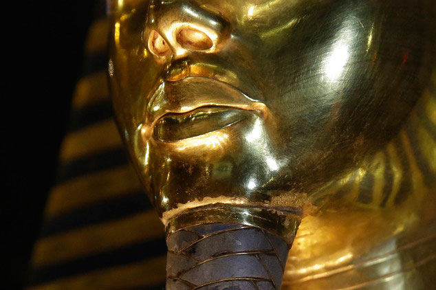 The golden funerary mask of Tutankhamun was exhibited at the Egyptian Museum in Cairo. The detail shows where the beard is attached.