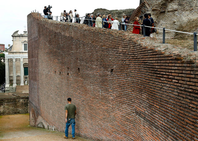 Journalists visit the the 1st-century ramp connecting the Forum to the hilltop Imperial Palace,  during a preview for the media in Rome, Tuesday, Oct. 20, 2015. Photo Credit: Credit: Domenico Stinellis, AP.