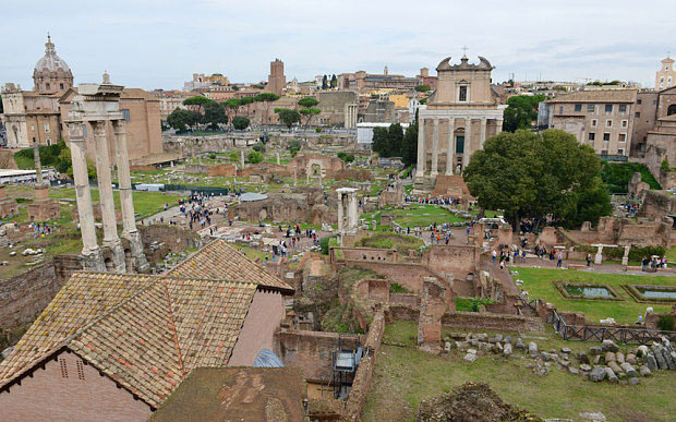 A view of the Roman Forum from the imperial ramp  Photo Credit: Chris Warde-Jones.