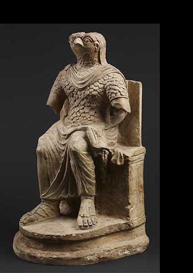 The Egyptian god Horus in Roman military costume. Egypt, 1st-2nd century AD. © The Trustees of the British Museum.