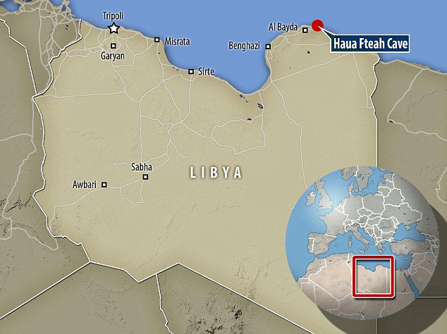 The cave on the north coast of Libya (marked on the map) was discovered in 1948 by a Cambridge professor. Photo Credit: Daily Mail.