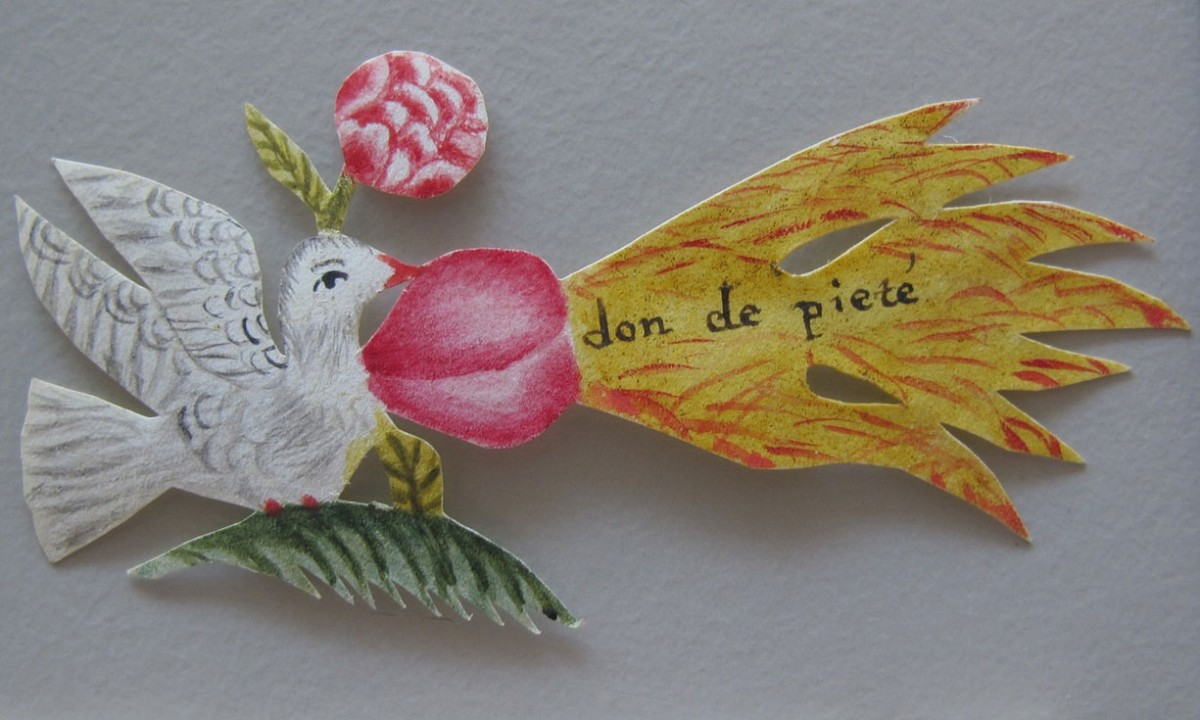 A paper dove included with one of the letters. Photo Credit: Hague Museum for Communication