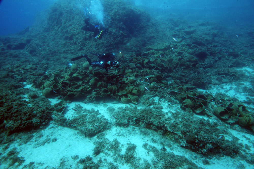 The wrecks found in the recent survey date from the Archaic period (700-480 B.C.) though the late Medieval period (16th century), though half are from the late Roman period (300-600 A.D.). Photo Credit: V. Mentogianis.