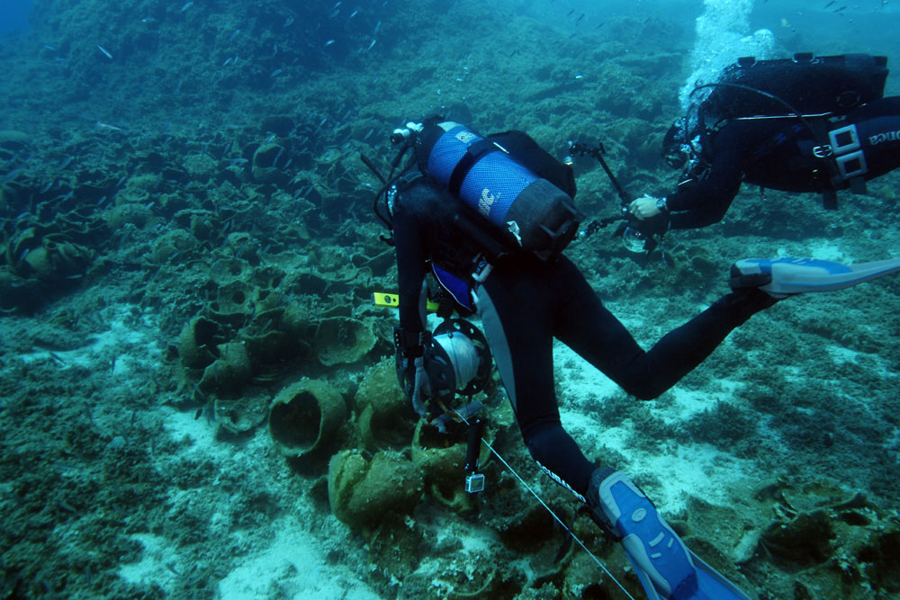 The wrecks discovered so far are relatively close to shore, and they were largely discovered based on tips from local fishermen and sponge divers. Photo Credit: V. Mentogianis.
