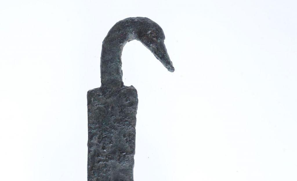 The duck-headed handle of a Hellenistic-era incense shovel found at Khirbet el-Eika in the eastern Galilee in 2015. Uzi Leibner, The Hebrew University. Photo Credit: Tal Rogovski/Times of Israel.
