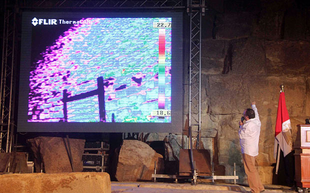 Jean Claude Barreof Heritage Innovation Preservation (in front of the great pyramid of Khufu (Cheops) during the infrared thermography experiment  Photo Credit: EPA/The Telegraph.