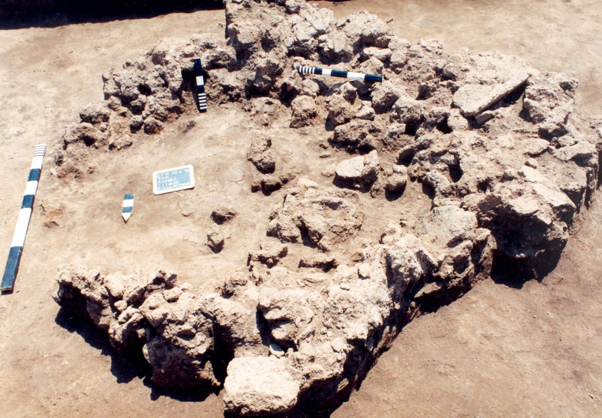 Fig. 7. Burnt architectural remains deposited inside a large pit (αα 430), on the North Eastern limits of the Neolithic settlement of Toumba Kremastis Koiladas.
