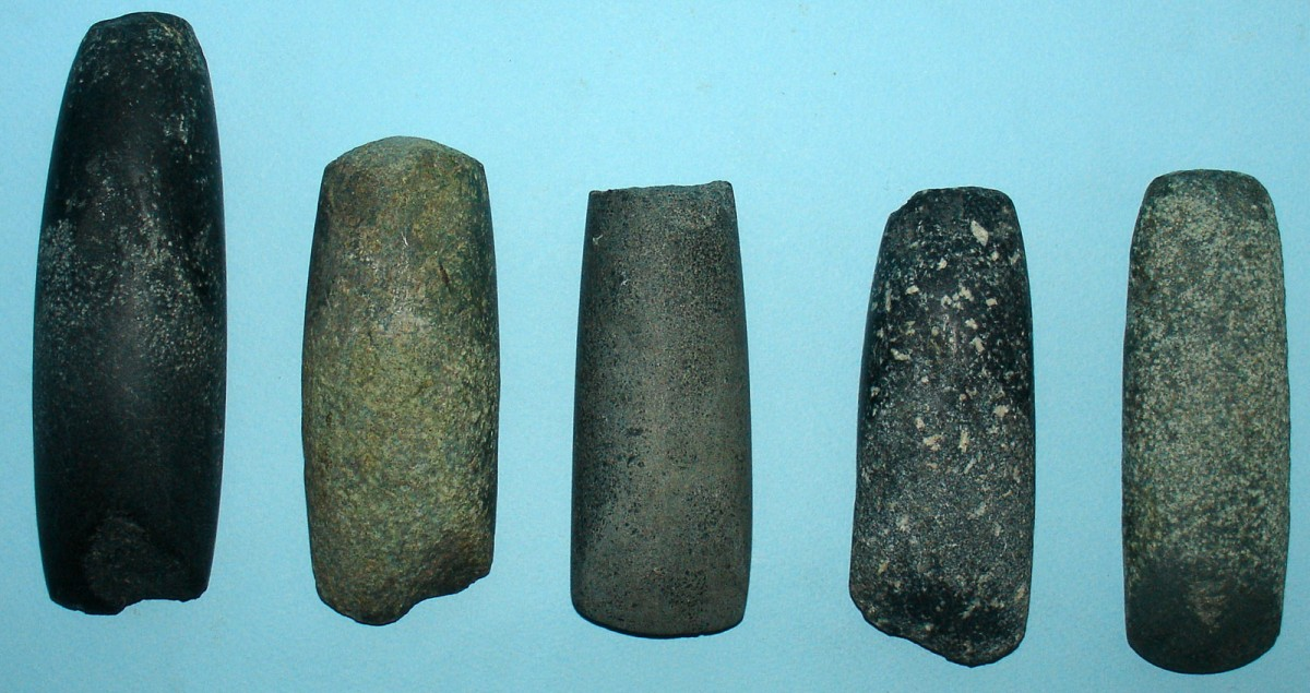 Fig. 2. Ground stone tools with a cutting edge (axes, adzes).