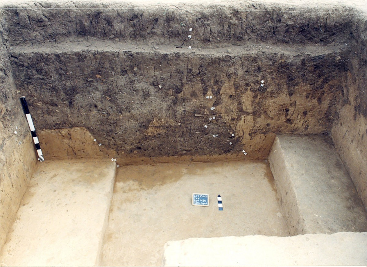 Fig. 6. Pit (αα 389) with remains of a ritual (miniature vases and a millstone).