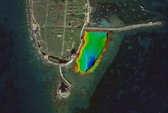 The castle of Methoni (Greece) and colour coded the bathymetry of the town's  ancient harbour and submerged breakwater. Photo Credit: Google Earth.
