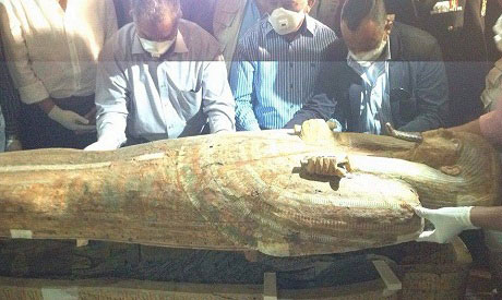 The sarcophagus was found at a joint mission by a Spanish and an Egyptian mission. Photo Credit: Ahram online.
