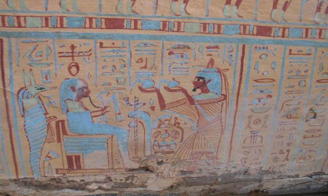 The sarcophagus is decorated with hieroglyphic texts and scenes depicting the deceased in different positions before deities Osiris, Nefertem, Anubis, and Hathor. Photo Credit: Ahram online.