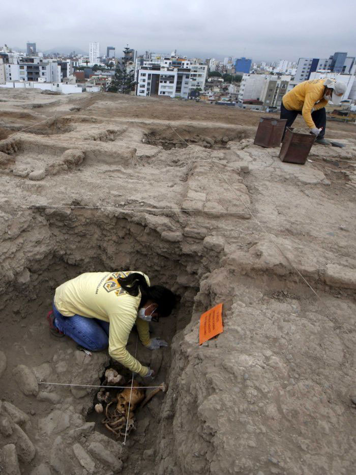 Four pre-hispanic Ichma culture tombs have been found in the Huaca Pucllana ceremonial complex in Lima. Photo Credit: Reuters: Mariana Bazo.