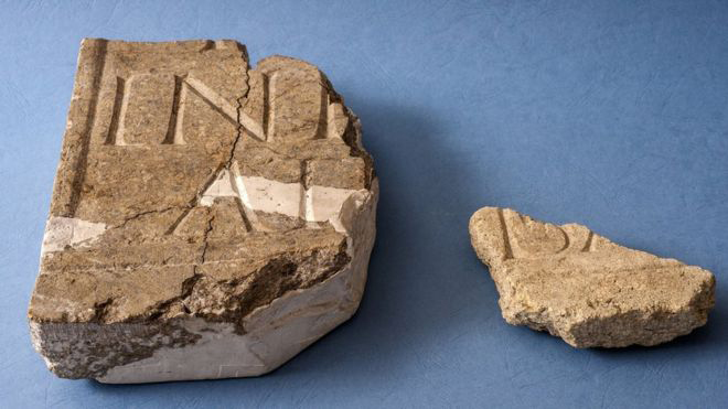 Fragments of inscribed marble. Credit: University of Reading