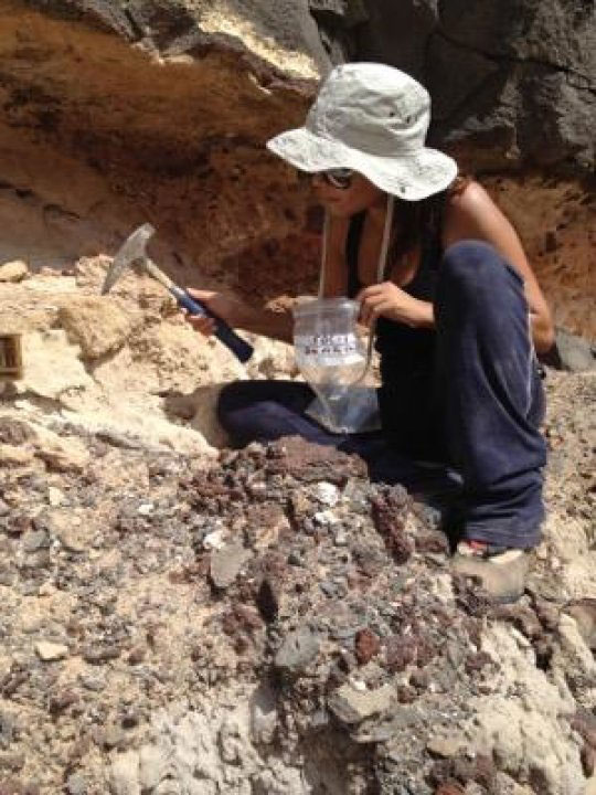 Yurena Yanes unearths ancient snail shells (gastropods) from beneath a paleontological site. Credit: Melanie Schefft & Yurena Yanes.