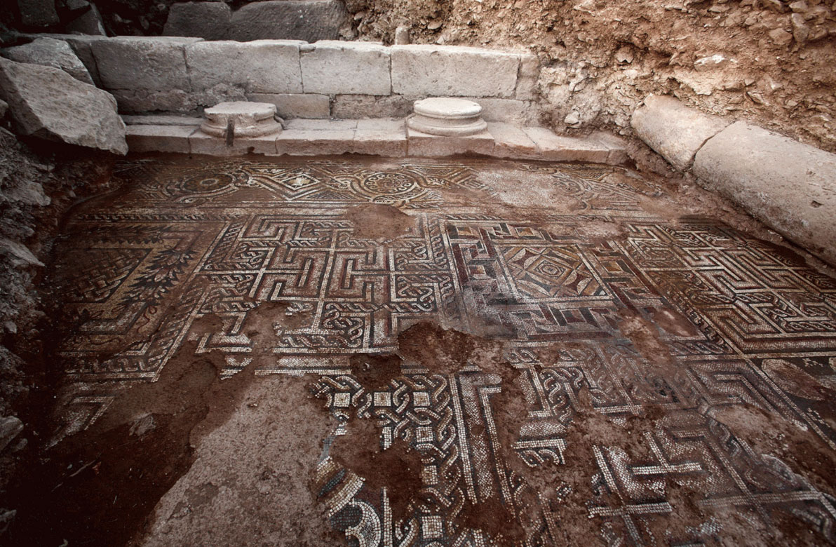Part of the excavated mosaic floor of a late antique building Credit: Peter Jülich.