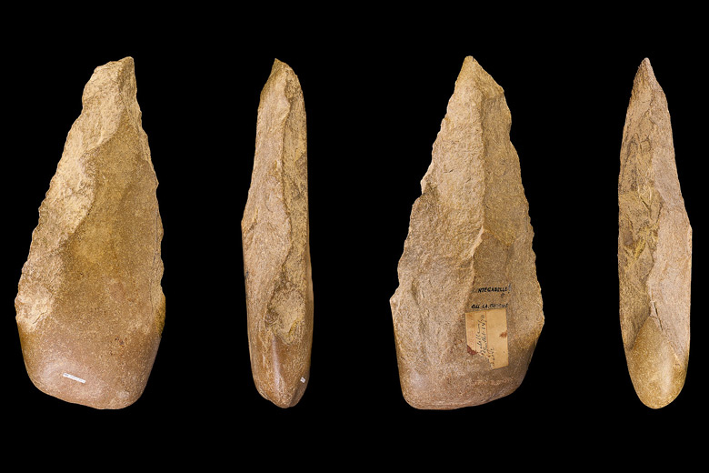 Stone tools produced by prehistoric humans. A new computer model devised by Marcus Feldman's lab may help scientists understand how tools evolved in prehistoric societies.
