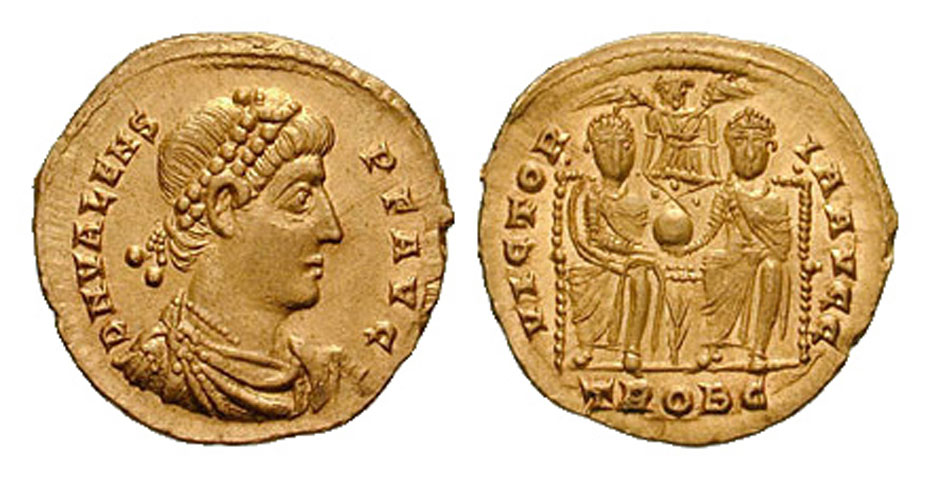 Fig. 5. Solidus minted by emperor Valens in c. 376. On one side is Valens, on the other Valens with his brother Valentinian I sharing and protecting the empire together.