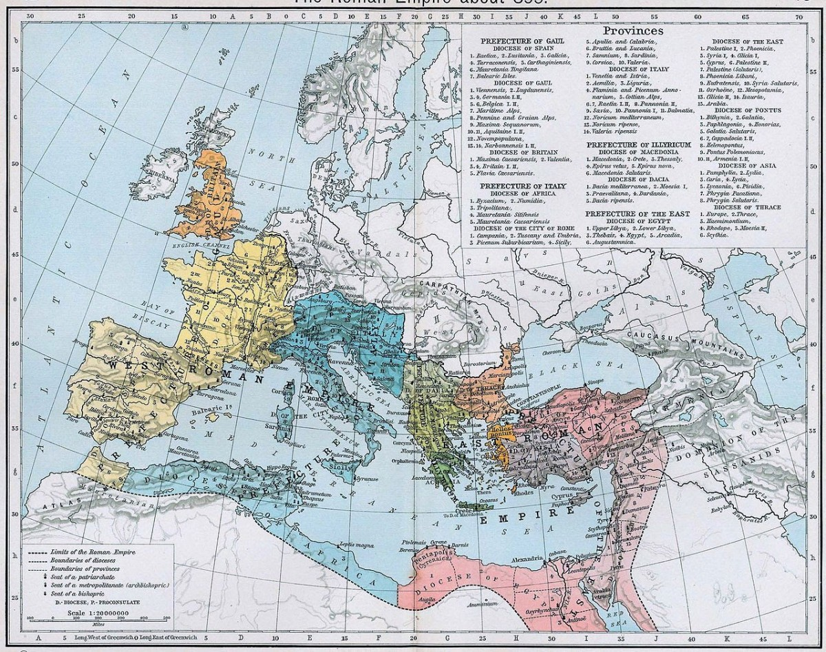 Fig. 8. The administrative divisions of the Roman empire in 395 under emperor Theodosius I.