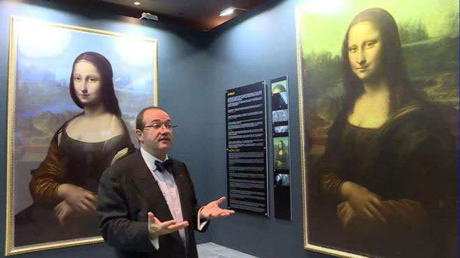 The image on the left is a digital reconstruction of what Mr Cotte claims to have found underneath the Mona Lisa. Photo Credit: BBC.
