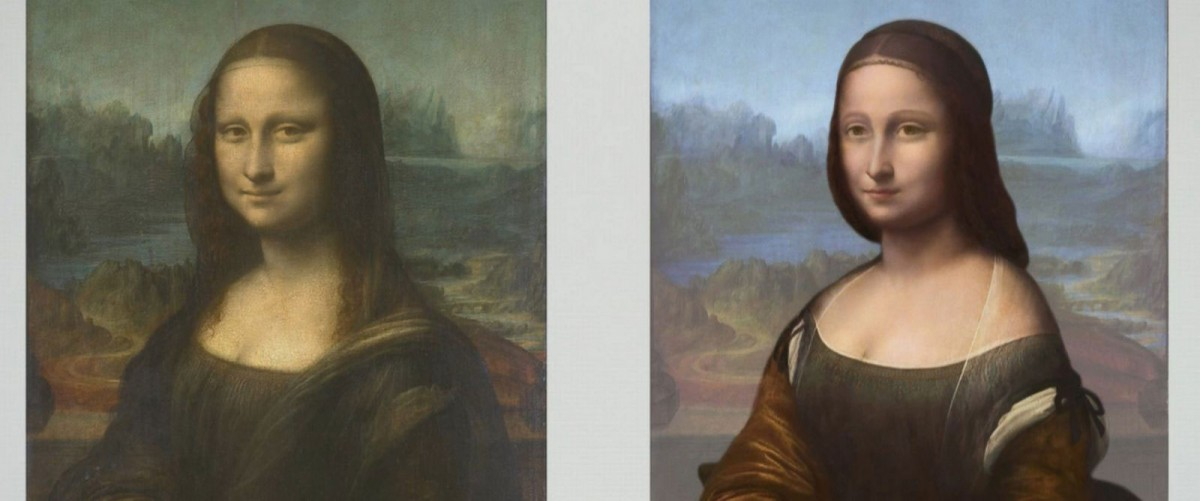The portrait on the right is hidden underneath the famous Mona Lisa, according to French scientist Pascal Cotte. Photo Credit: abc news.