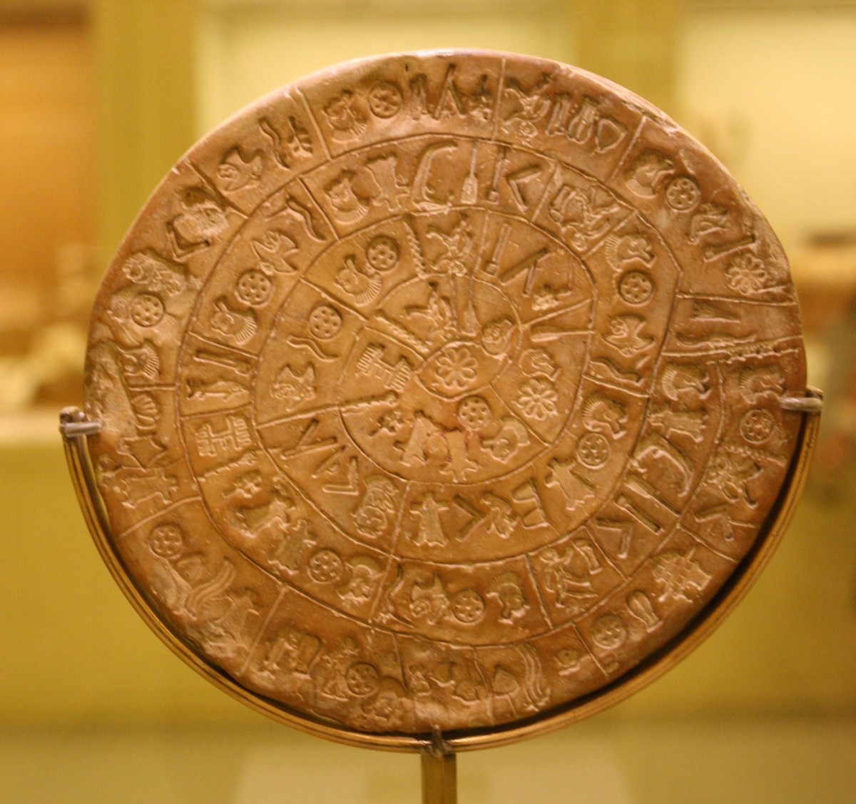 Phaistos Disk, side A. Heraklion Archaeological Museum.