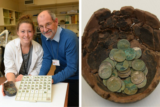 The find comprises 91 Roman silver denarii (coins) which were buried in a locally-made pot. Photo Credit: South Wales Evening Post.