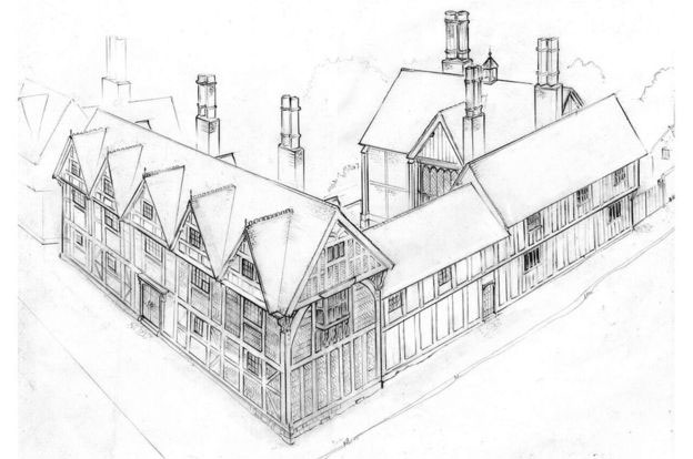Uncovering the kitchen made it possible for accurate drawings to be produced of how New Place would have looked when under Shakespeare's ownership. Image Credit: Phil Watson/Shakespeare Birthplace Trust.