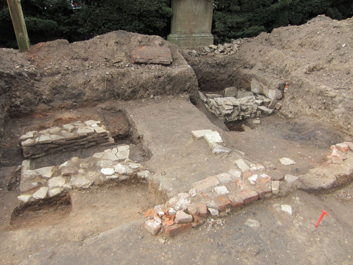 Shakespeare's kitchen hearth and cold storage pit were unearthed in the dig at New Place. Photo Credit: Shakespeare Birthplace Trust.