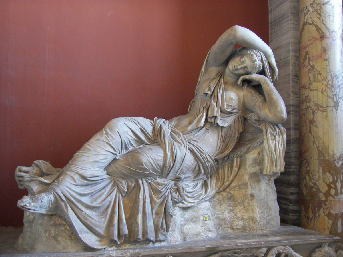 The Sleeping Ariadne, Vatican Museums in Vatican City. Roman Hadrianic copy of a Hellenistic sculpture of the Pergamene school of the 2nd century BCE.
