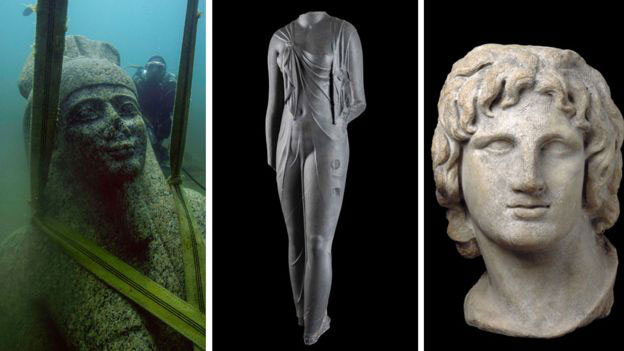(from left) The god Hapy rising from the seabed, the goddess Arsinoe and a portrait of Alexander the Great. Photo Credit: Franck Goddio/British Museum/BBC.