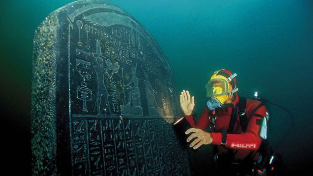 This stele, or stone slab, is inscribed with a royal decree from Thonis-Heracleion. Photo Credit: Franck Goddio/Hilti Foundation.