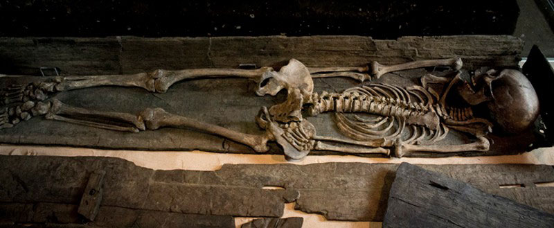 The female skeleton was found as part of a larger excavation in the Swinegate area of York. Photo Credit: YAT.