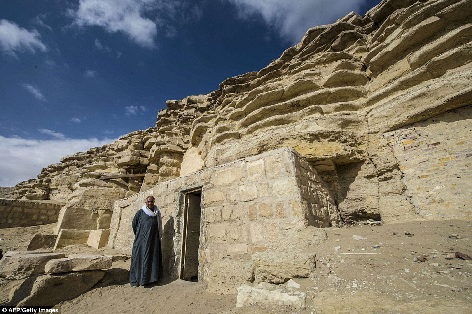 Welcoming: Media and visitors were allowed to tour the tomb, which was discovered by French Egyptologist Alain Zivie in 1996. Credit: AFP/Getty Images