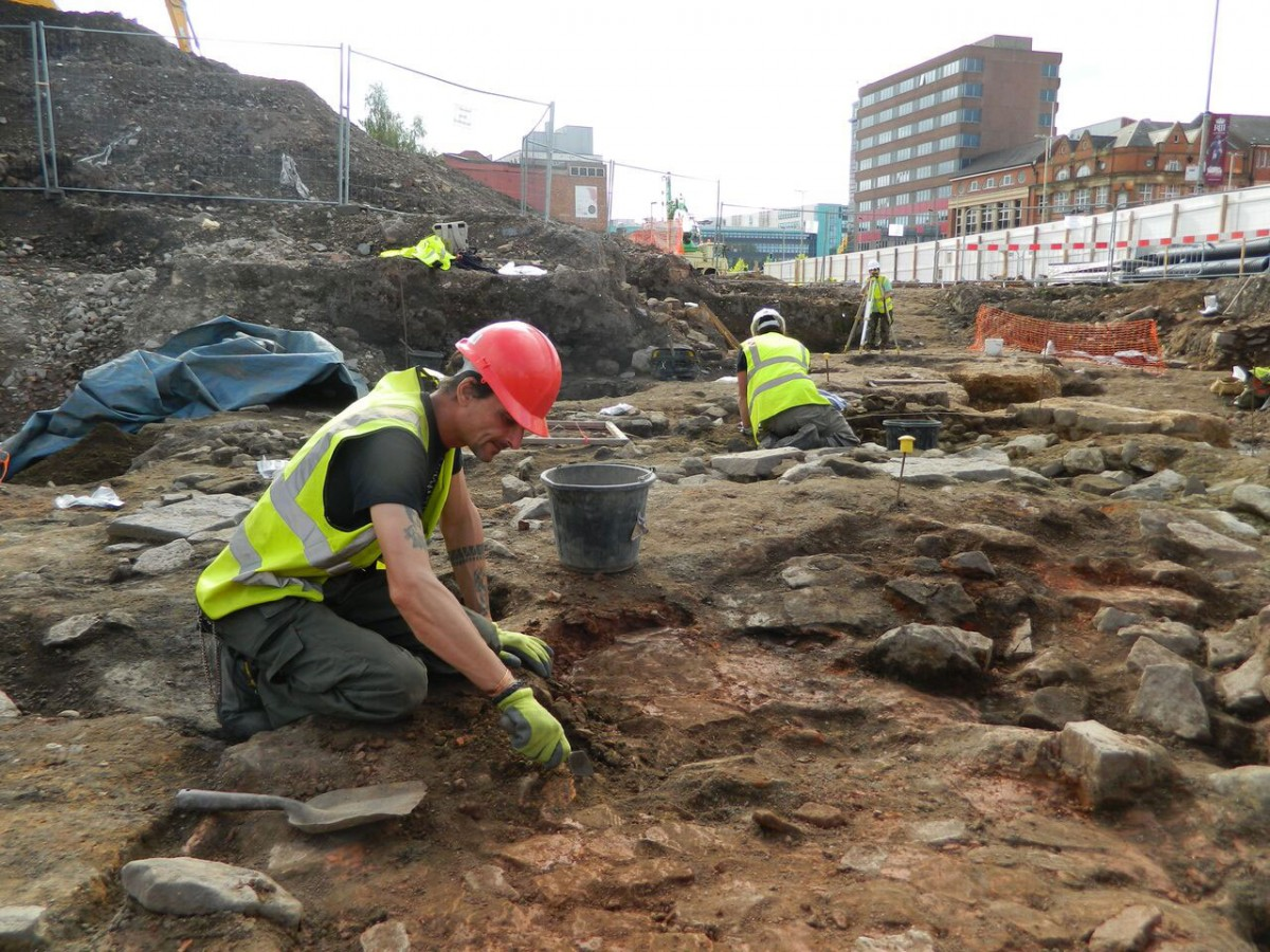Late Roman industrial features are painstakingly excavated and recorded by archaeologists before building work begins [Credit: University of Leicester]