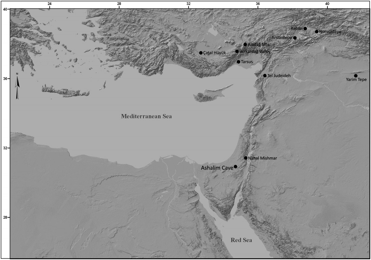 The location of Ashalim Cave. The figure was created with ARC-GIS 10 software, based on a topographic model generated by NASA Earth Observatory (public domain). Image Credit: PLOS ONE.