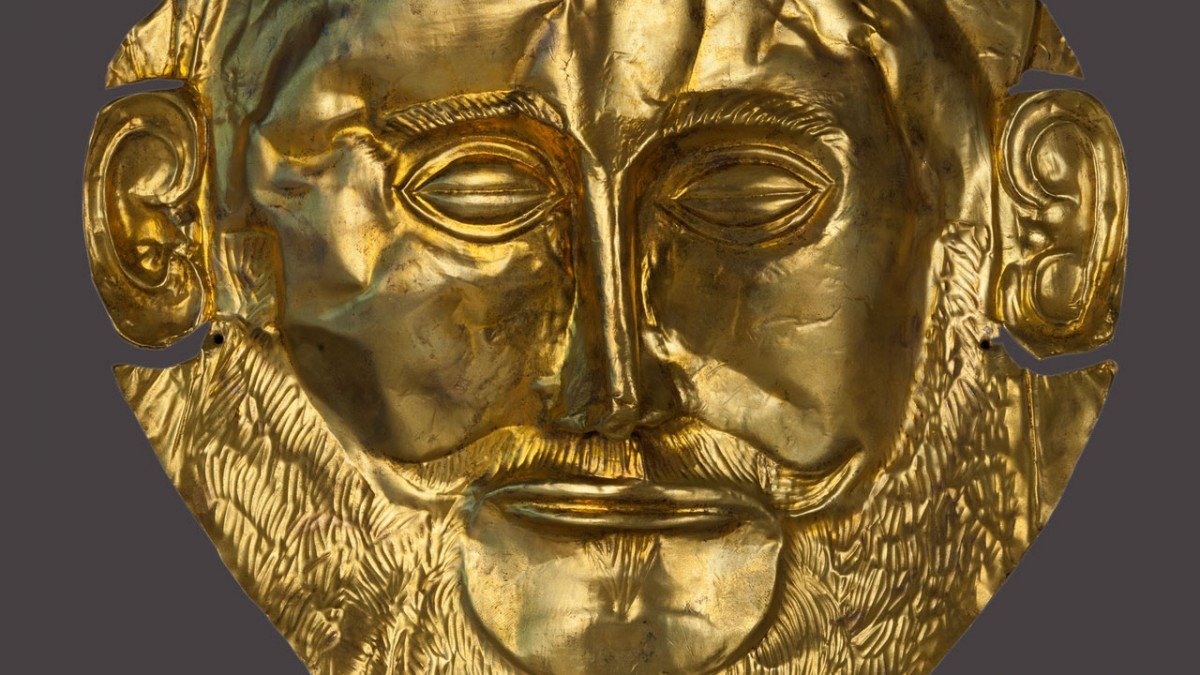 "Gold funerary mask known as the ""Mask of Agamemnon"". 16th c. BC. Copyright: Ministry of Culture and Sports. Photographer: Socratis Mavrommatis."