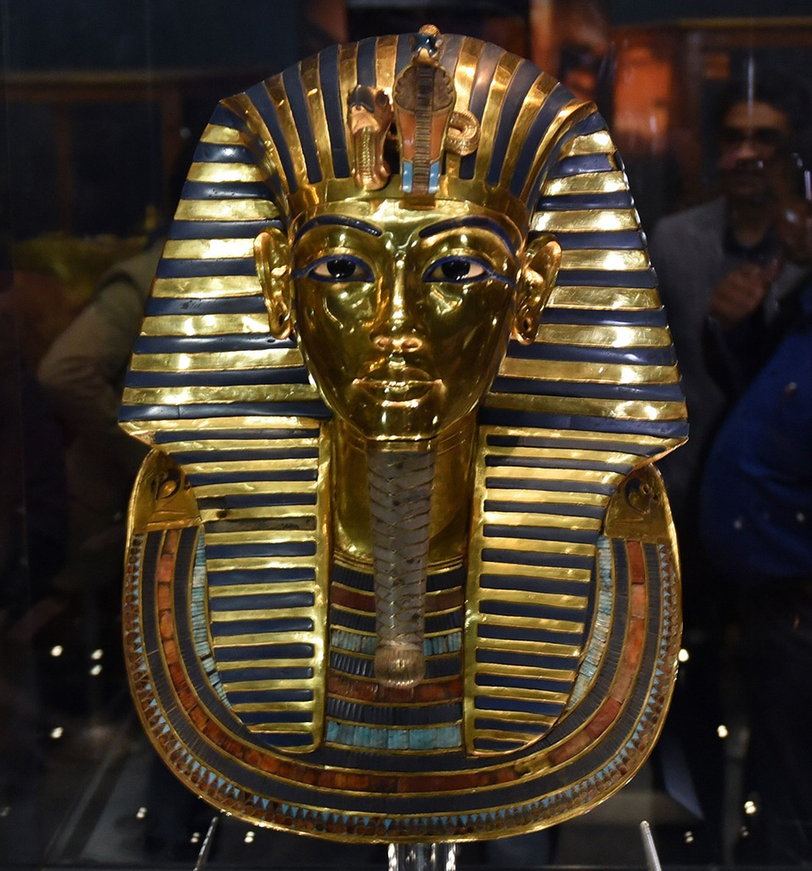 The restored mask of Tutankhamun at the Egyptian Museum in Cairo. Photograph: Mohamed El-Shahed/AFP/Getty Images.