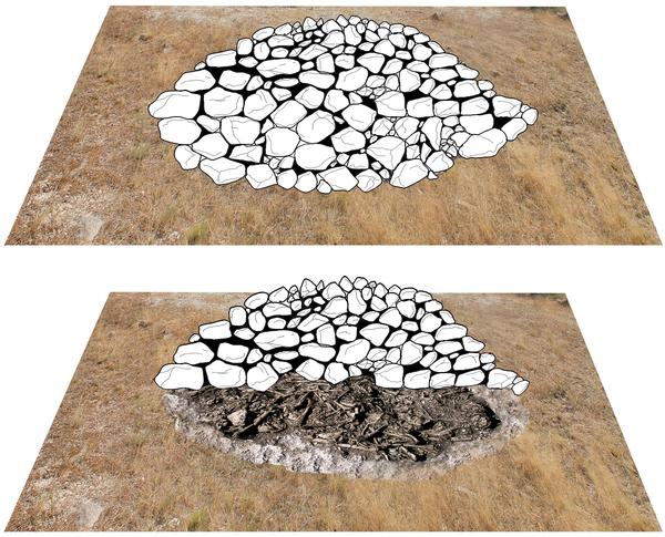 Reconstruction of the original appearance of the megalithic mound of Alto de Reinoso (graphic: Héctor Arcusa Magallón).