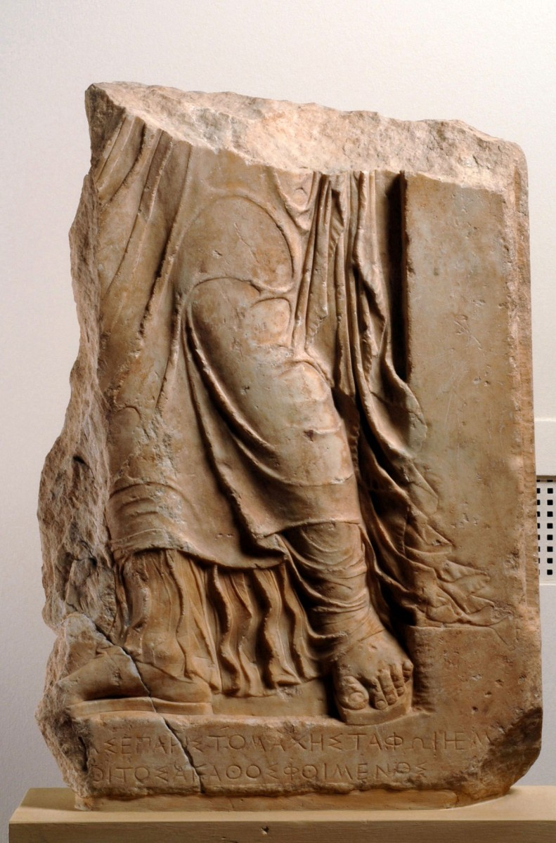 The grave stele of Aristomache from the Sculpture Collection of the National Archaeological Museum. Photo credit: National Archaeological Museum/ Kostas Xenikakis.