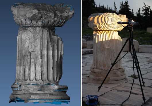 Visualisation of the 3D scanning results from Elefsis in OPTOCAT software (left). Data acquisition with a Breuckmann white light scanning system (right). (Photo credit: Presious)