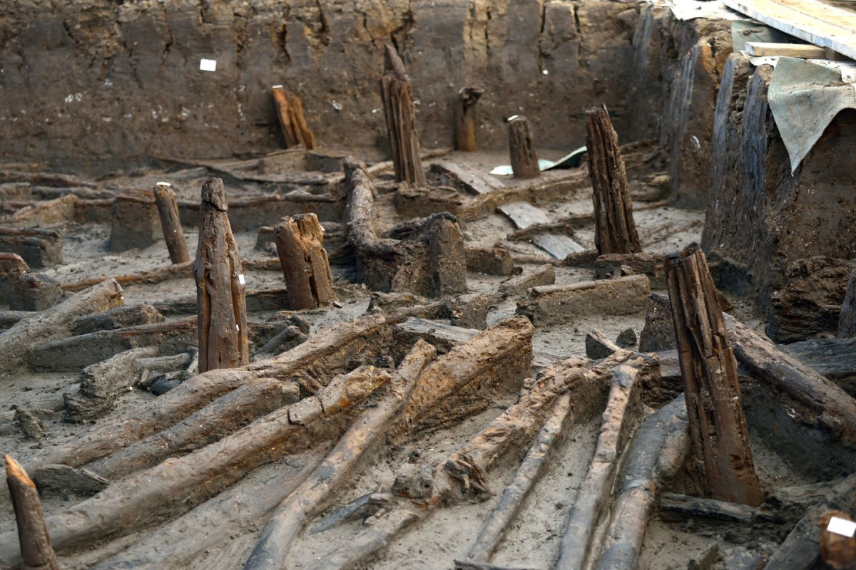 East Anglian Fens: Close up of stilts and collapsed roof timbers.